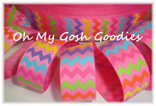 7/8 Chevron Easter Bright Multi Hot Pink Grosgrain Ribbon 4 Hairbow Bow Collar