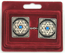 NICKEL PLATED MAGEN STAR OF DAVID TALIT TALLIS TALLIT CLIPS CLIP WITH BLUE GLASS