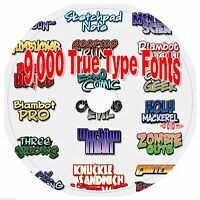 9,000 True Type Fonts on dvd and bonus software
