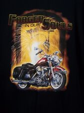 Men's Biker Motorcycle T-Shirt L Navy Short Sleeve Forged In Our Souls NWOT