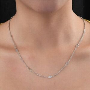 TJC White Diamond Station Necklace for Women Platinum Plated Silver 18 '' 1ct
