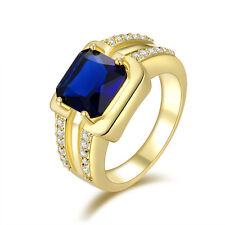 Fashion Jewelry Size 12 Men's Halo Blue Sapphire 18K Gold Filled Wedding Ring