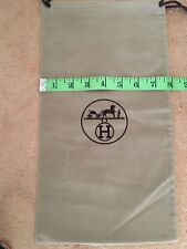 "HERMES Brown Velour Authentic Logo Dust Cover Storage Bag Drawstring 7.75"" x 14"""
