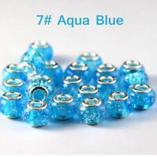 10pcs Rondelle Murain Lampwork Glass Charms Big Hole Beads Fit European Bracelet