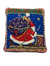 Mary Englebright Needlepoint Pillow Believe Santa On The Roof