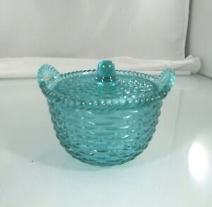 Vintage Glass Sugar Bowl With Lid And Handles Green Basket Weave Look