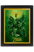 Legend of Zelda Cuadro Efecto 3D Enmarcado Link 26 x 20 cm