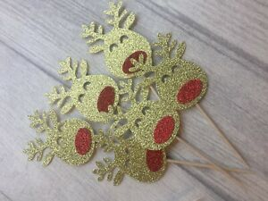 12 Reindeer cupcake topper toppers glitter Christmas Xmas Rudolph cake cup