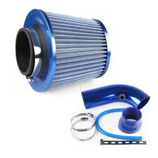75mm Inlet Short Ram Cold Air Intake Filter Pipe Aluminum Cleaner Blue Popular
