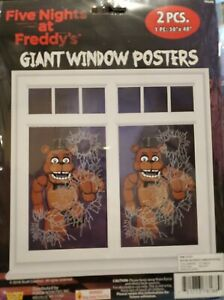 2PC FIVE NIGHTS AT FREDDY'S GIANT WINDOW or WALL POSTERS HALLOWEEN OR BDAY PARTY