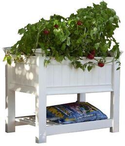 Raised Garden Planter 35.5 in. H x 36 in. W x 24 in. L Rectangle PVC in White