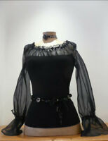35% OFFSALE!  Gorgeous! ANNE FONTAINE FRANCE Black ORGANZA BLOUSE top size 40-42