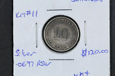 1881 10 Cents Straits Settlements KM# 11 XF+ - Silver