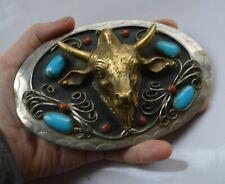 HUGE Vintage Native American Indian style silver metal belt buckle jewelry