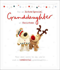 Christmas Card Granddaughter – Boofle stroking Roofle