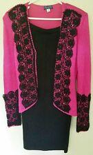 Vintage Fleur de Paris Knit Cocktail Suit Dress Pink 1980s Black Lace Trim S/M