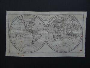 1764 Pluche Atlas LATTRE map World - MAPPEMONDE - Mer de l'Ouest
