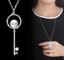 Women 925 Sterling Silver Pearl Key Pendant Long Chain Necklace Fashion Jewelry