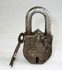 Antique Old Rare Brass Handcrafted Goddess Laxmi Engraved  Pad Lock Rich Patina