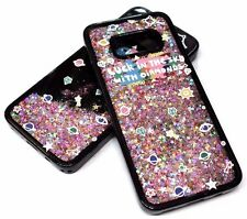 For Samsung Galaxy S8 - GOLD STARS PINK GLITTER BLACK SILICONE WATER LIQUID CASE