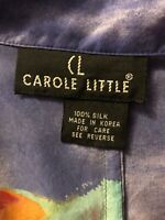 Carole Little Womens Size L 100% Silk Tropical Scene Short Sleeve