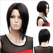 Black Fashion Straight Short Hair Girl Cosplay Party Full Wigs Heat Resistant