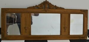 """Antique Mantle Buffet/Piano 3 Sectional Panel Mirror 46-1/4"""" By 21-1/2"""""""