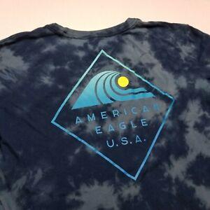 American Eagle Tie Dye T-Shirt Mens M Blue Waves Beach Ocean Tee $1