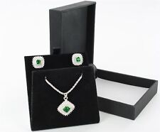Silver Vintage Design Green & Clear CZ Stone Set Pendant Necklace & Earrings Set