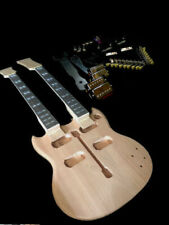NEW SOLID ALL MAHOGANY SG STYLE 12/6 DOUBLE NECK ELECTRIC GUITAR BUILDER KIT