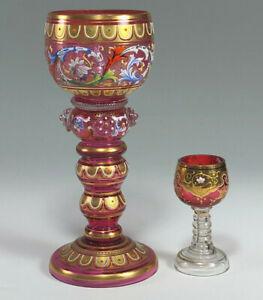 Moser Gold Gilt Decorated Cranberry Glass Miniature Roemer