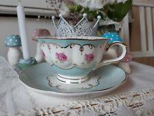 Kaffeetasse m. Untertasse 2-tlg. Rosen Gold Ornamenten, türkisblau Clayre & Eef