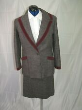 Salvatore Ferragamo Vintage Charcoal Herringbone Mohair Blend Skirt Suit Size 10