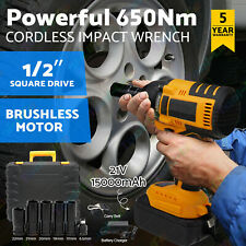 "650N Lithium Ion Cordless Impact Wrench Li-ion 1/2"" Drive Ratchet Rattle Nut Gun"