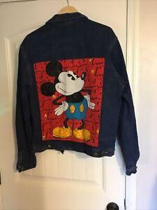 Vintage MICKEY MOUSE Denim JEAN JACKET sequins JG Hook Disney Size XLarge