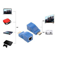 2pcs 1080P HDMI Extender to RJ45 Over Cat 5e/6 Network LAN Ethernet Adapter Blue