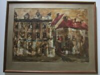 URBAN REGIONALISM PAINTING MODERNIST MYSTERY ARTIST SIGNED EXPRESSIONISM 1950'S