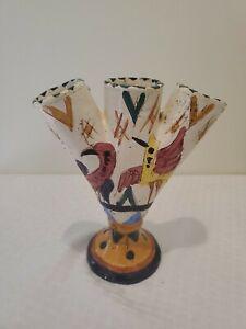 Vtg Folk Art Ceramic BUD VASE 3 Finger Hole Hand Painted Italy H-10