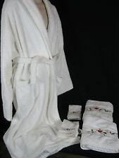 """White Terry Cloth  Spa Robe """"Chelsea Collection"""" White Towel set EUC!"""