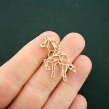 2 Origami Unicorn Connector Charms Gold Tone - GC1070