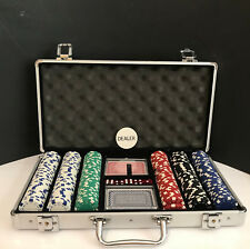 Professional Dealer Poker Chip Set Gambling with Carrying Case Cards