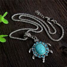 Vintage Women Bohemia Turquoise Tortoise Pendant Necklace Silver Chain Jewelry