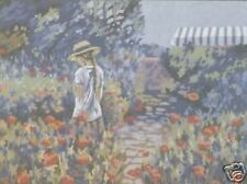 Afternoon Walk Girl in Poppy Field Poppies Flowers Tapestry Canvas DMC