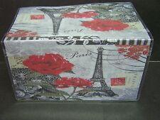 EIFFEL TOWER PARIS FRANCE BLACK & WHITE RED ROSES IMAGE 1  VINYL CHECKBOOK COVER