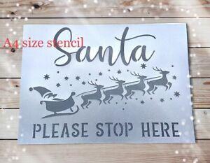 Christmas Stencil Xmas  Sign Festive Decor Santa Stop Here Template Card Craft