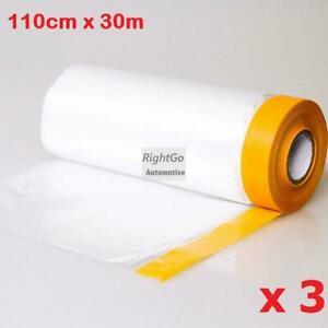 3 Rolls 110cm x 30m Pre-taped Masking film Roll PVC Plastic Dip spray rubber ...