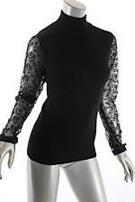 BELFORD Black 100% Merino WOOL Mock Neck Sweater with Lace Sleeves  Sz M  Sample