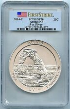 2014-P Arches Park, 5oz Silver Quarter ATB, PCGS SP-70 First Strike, Mint Box!
