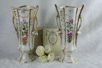 PAIR French OLD PARIS VIEUX porcelain Vases Gold gilt flower decoration