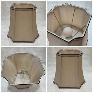 """New 10"""" x 11"""" Faux Silk Lamp Shade soft gold Beige Brown Trim square cut corners"""
